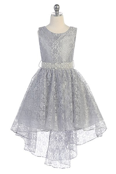 girls silver high low dress