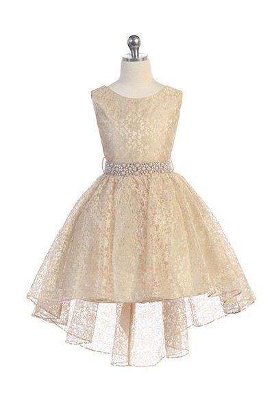 girls taupe lace high low dress
