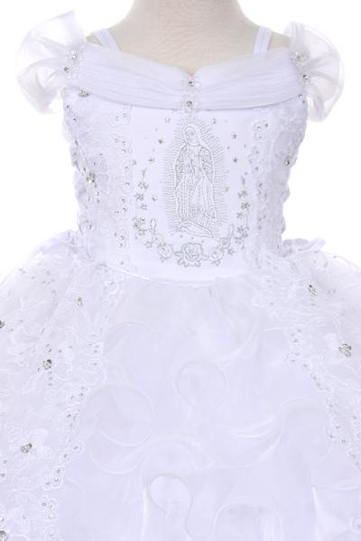 baptism dress with virgin mary