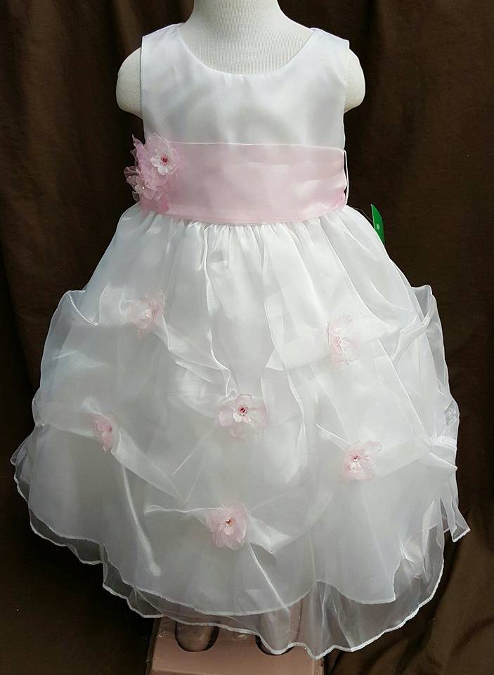 organza flower girl dress in white and pink