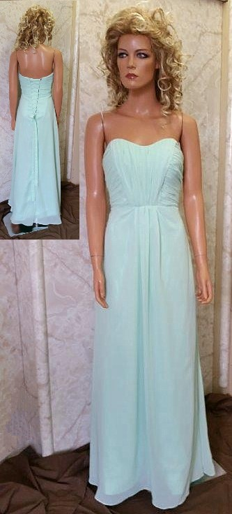 Long mint green bridesmaid dresses