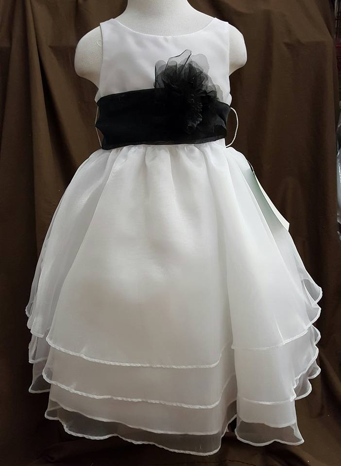 white dress with black sash