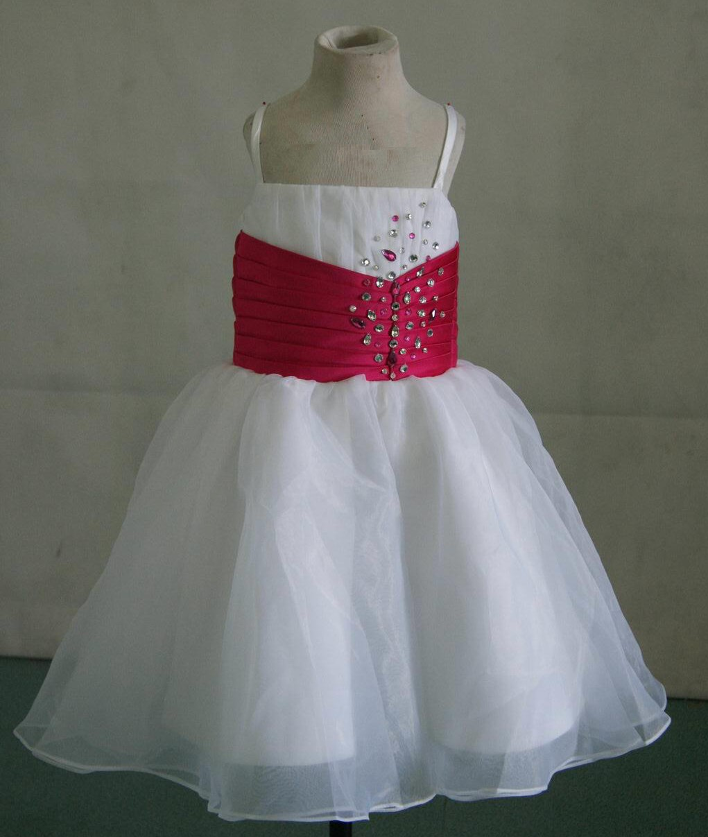 white and fuschia flower girl dress