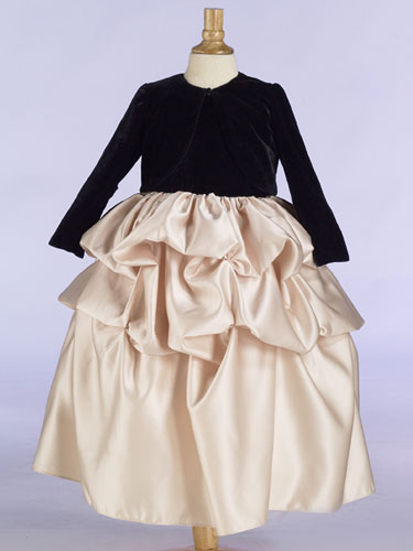 Black long sleeve flower girl dress