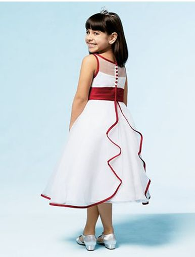 Fancy white Party Dress with red ruffle trim