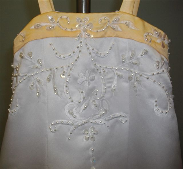 Yellow and white dress embroidery & beading