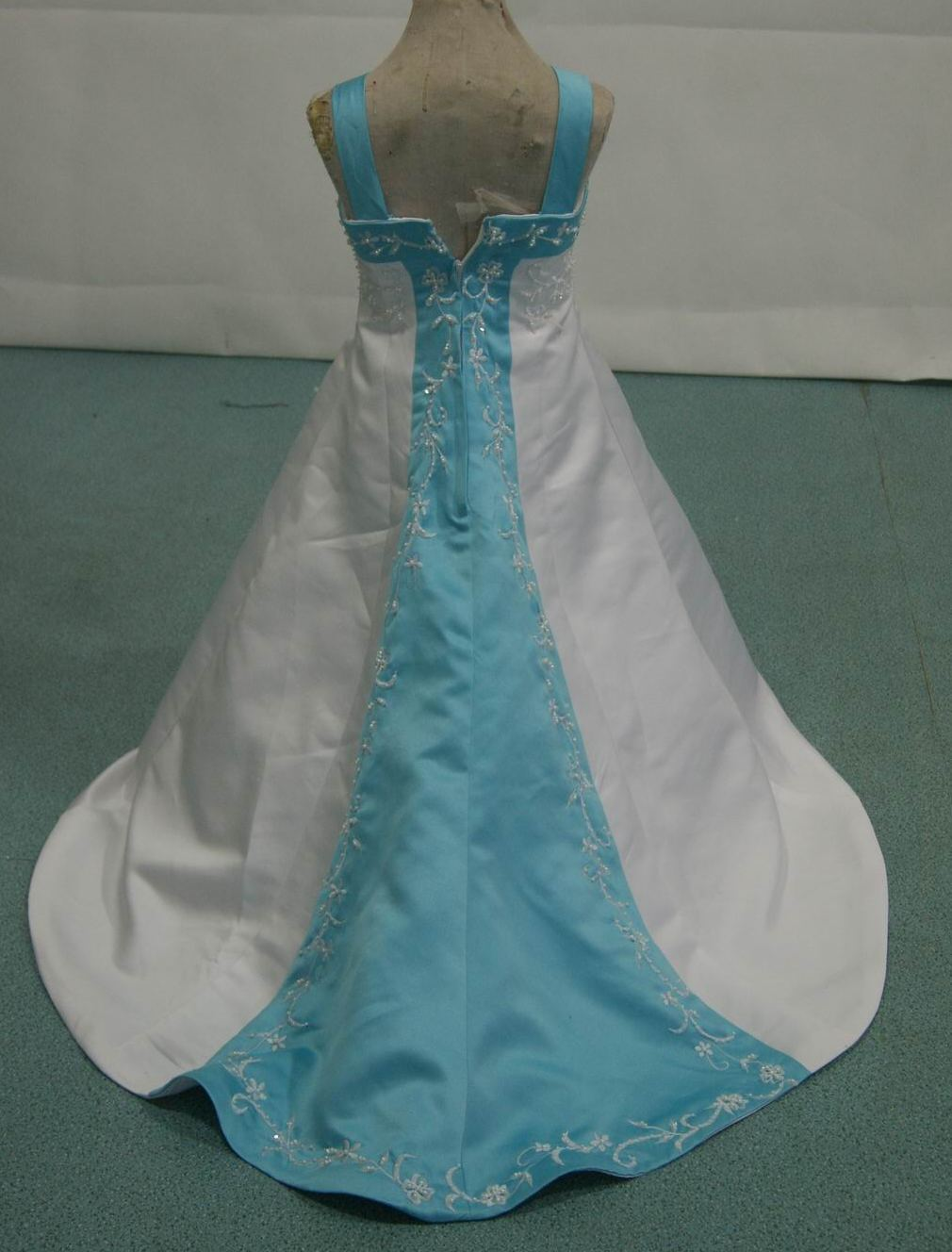 miniature bridal gown in white and pool blue