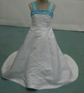 White miniature wedding gown with pool blue trim