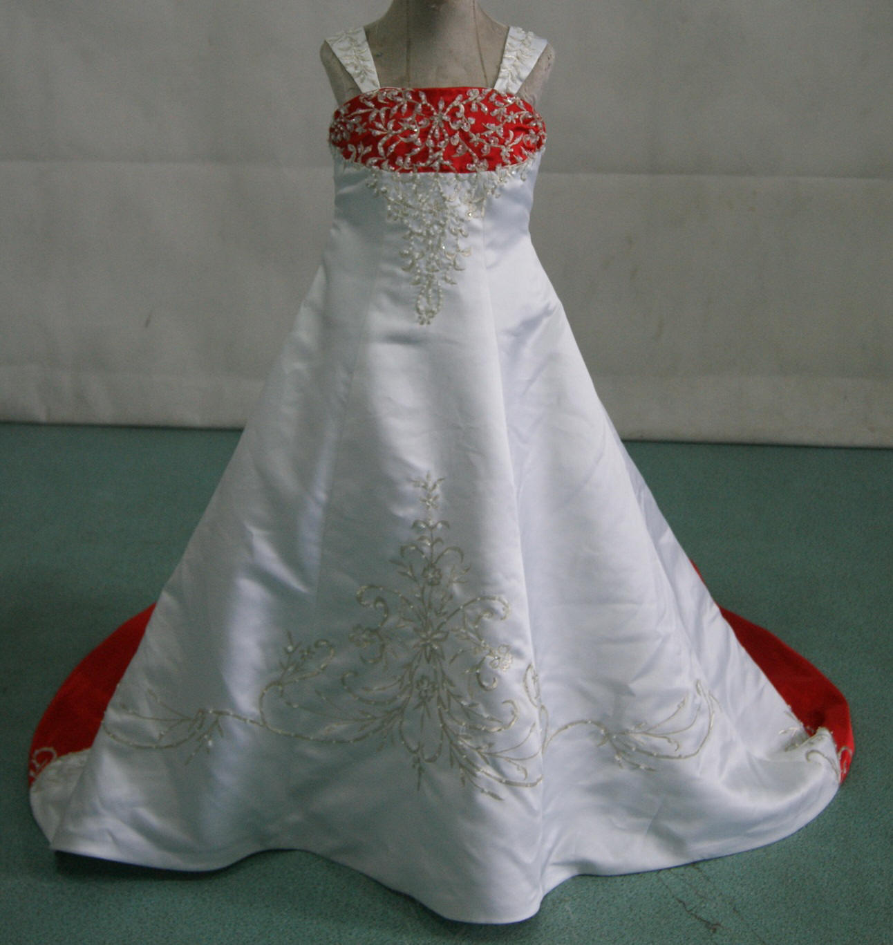 white and red miniature bridal gown