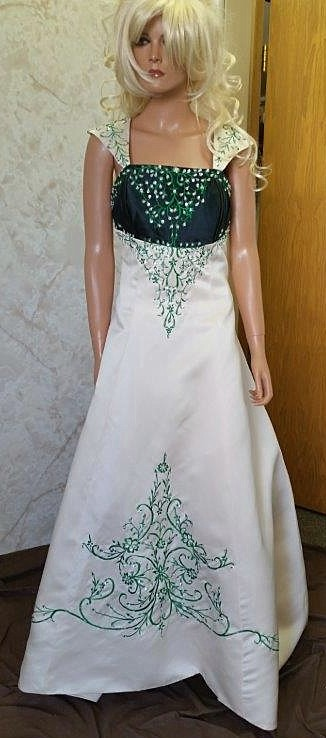 Bride and matching miniature bridal gown in white and red for Forest green wedding dress