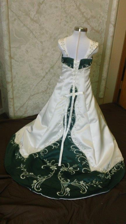 ivory and green matching flower girl dress