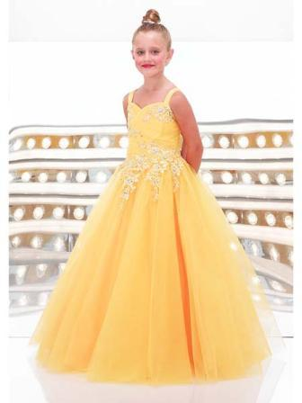 Yellow sweetheart girls ball gown