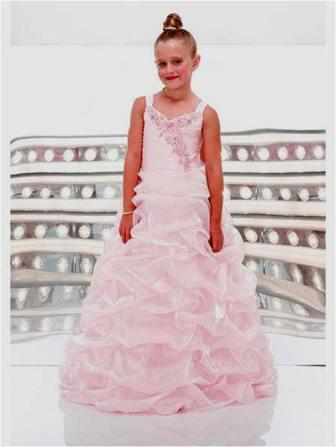 girls full length organza pick up dress