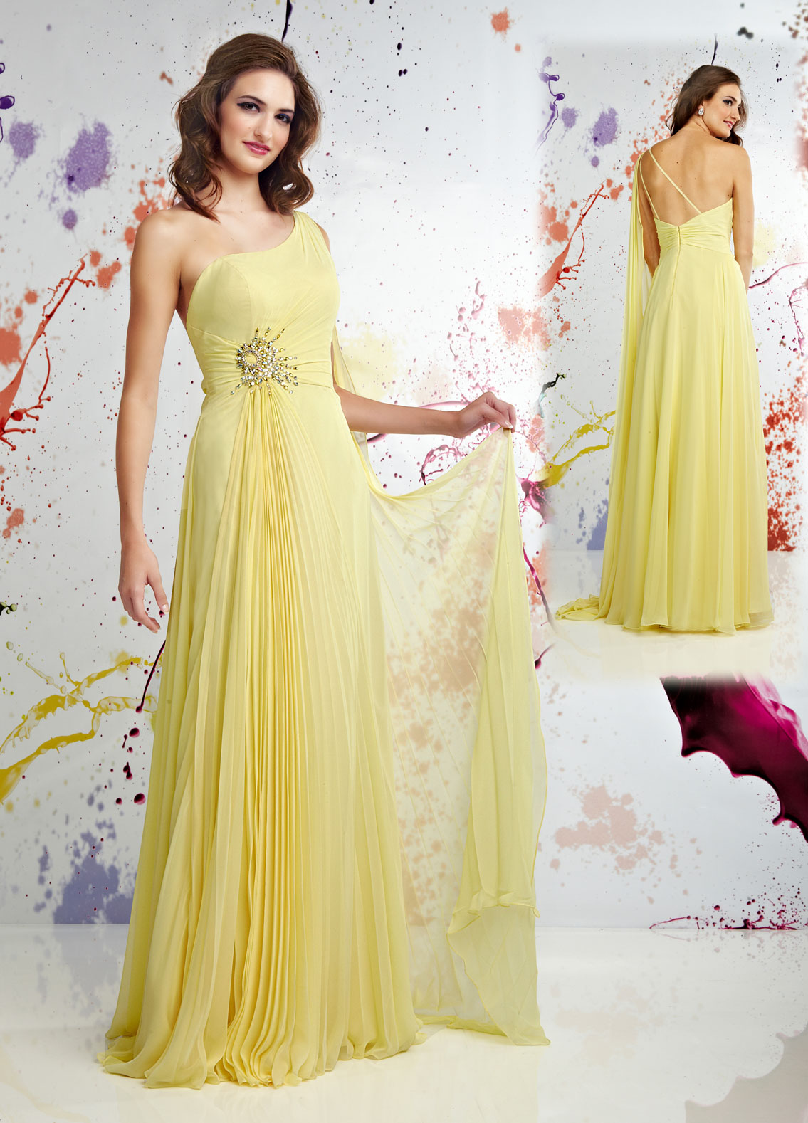 yellow one shoulder prom gown