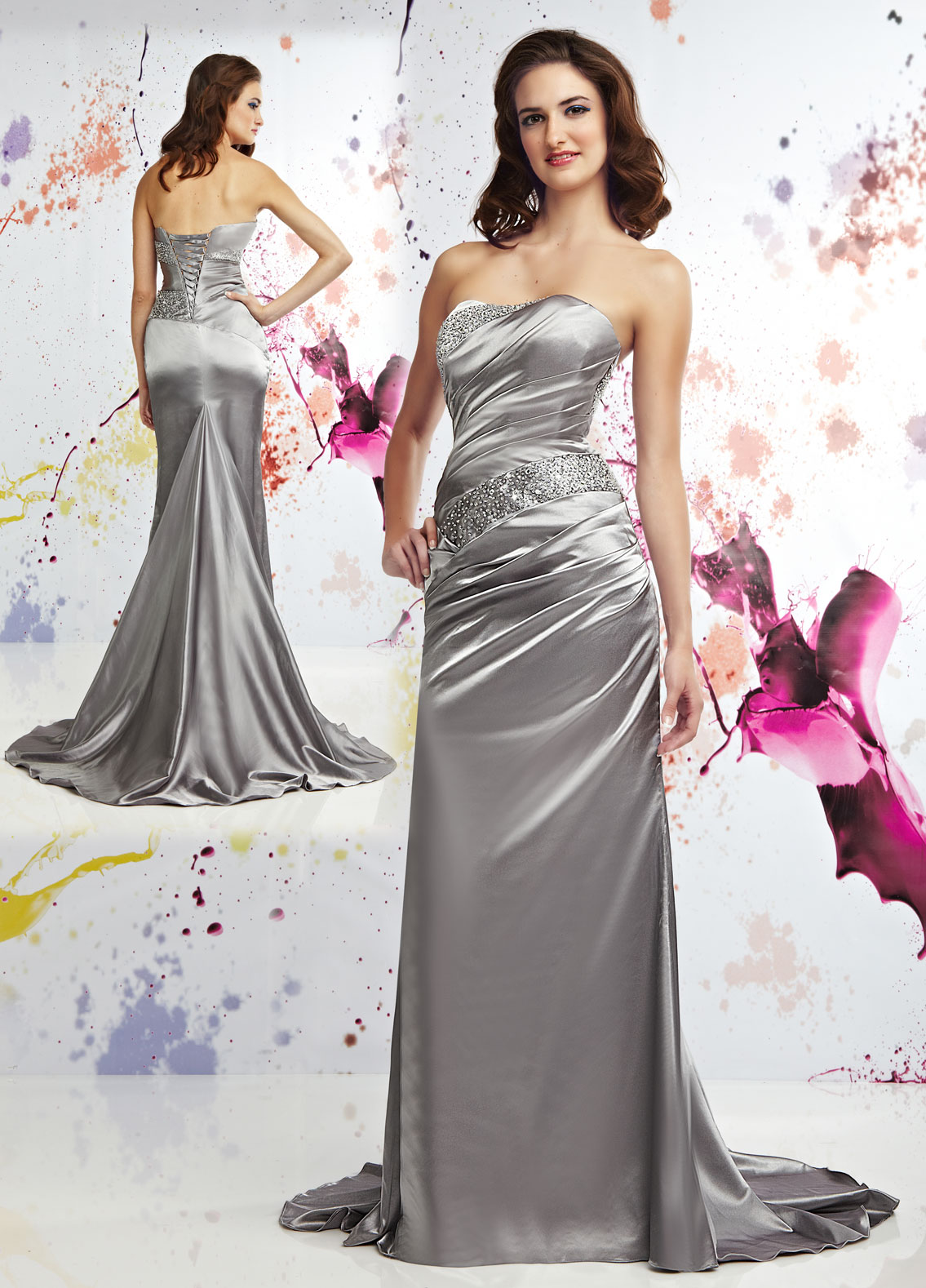 platinum strapless fish tail prom dress