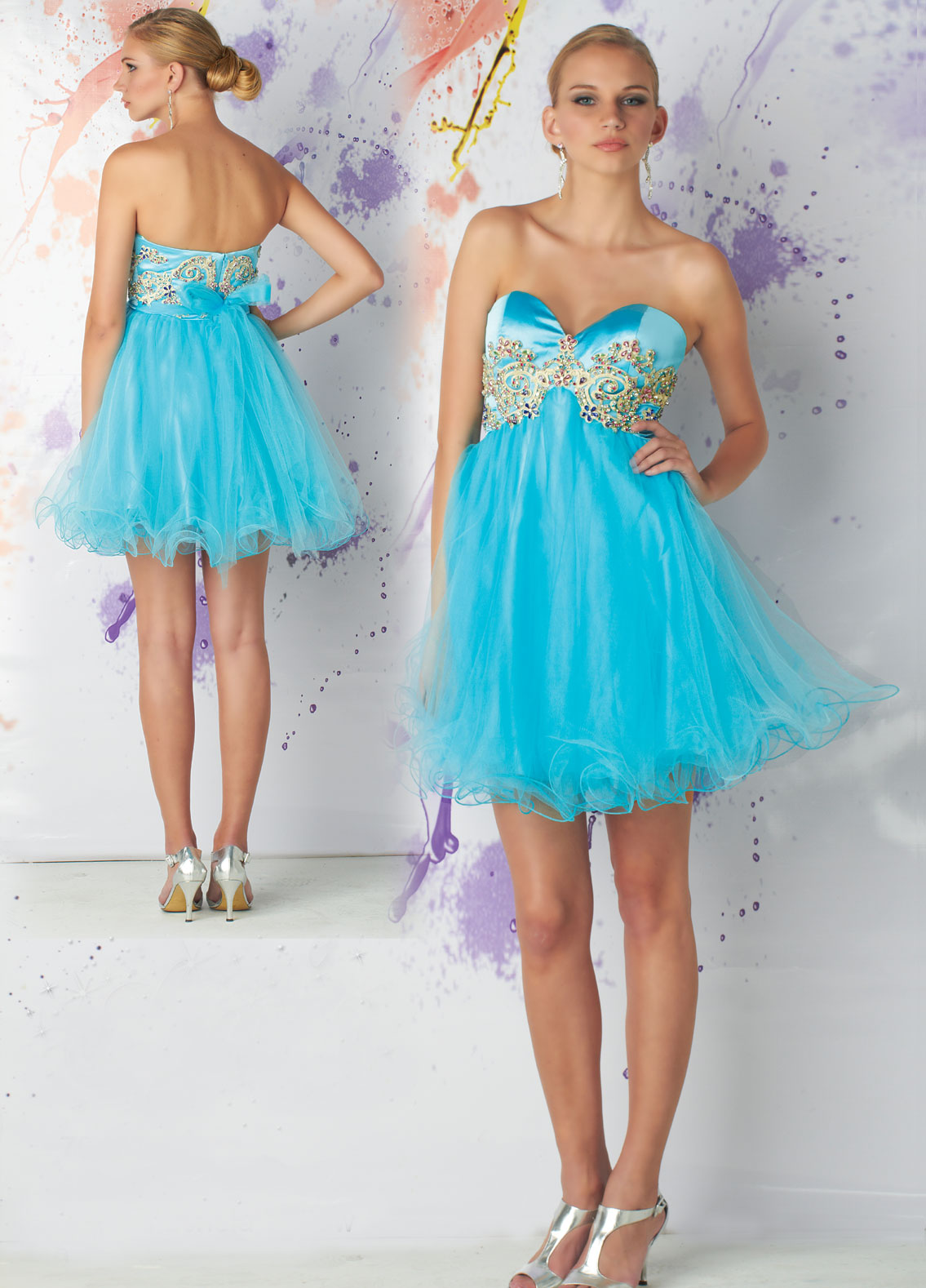 prom strapless blue babydoll dress