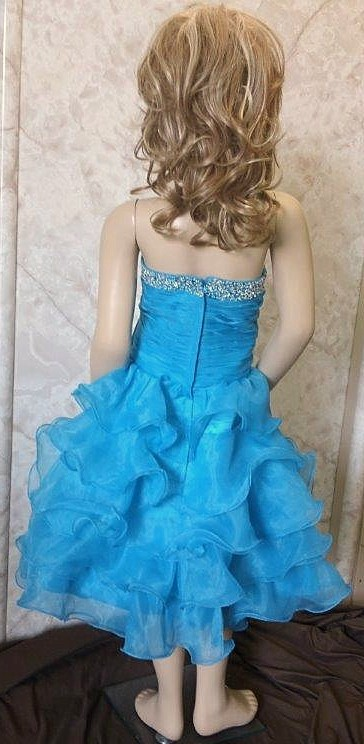turquoise organza pageant dress