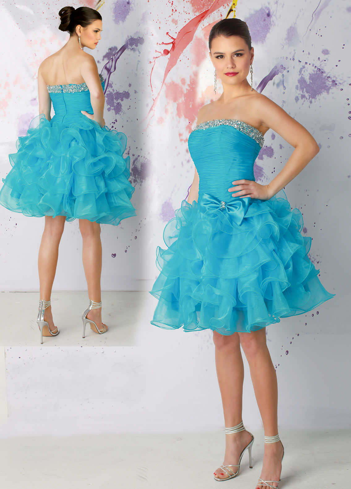 blue strapless short layered prom dress