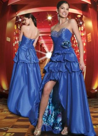 blue strapless high low prom dress