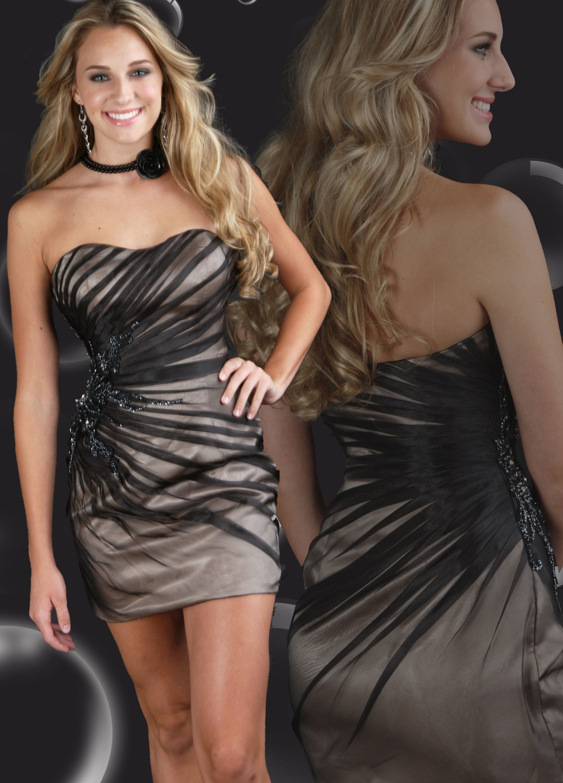 black and champagne short tight bridesmaid dresses