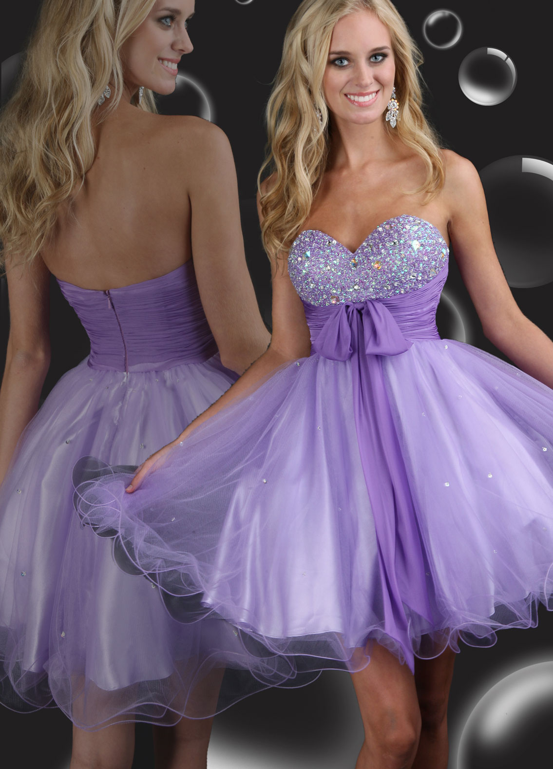 Short purple short dama dresses