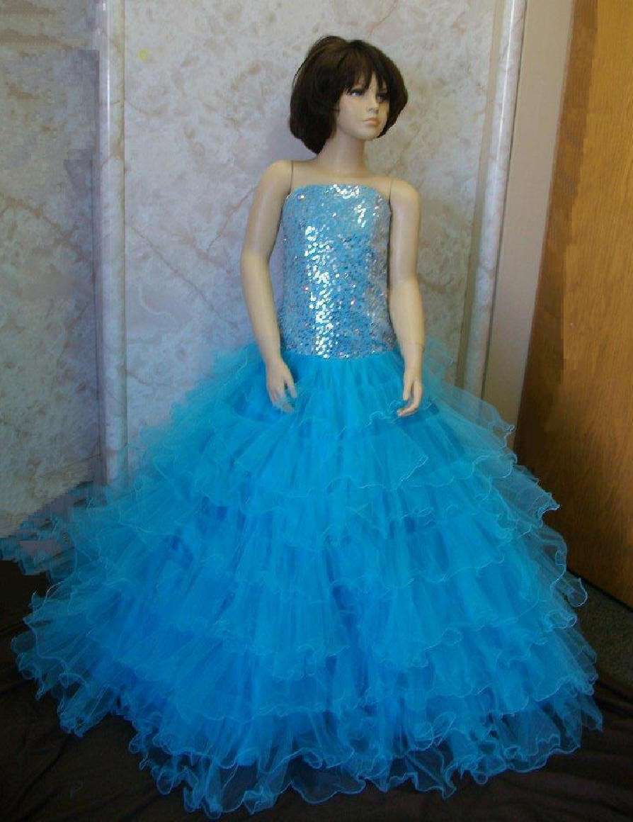 pool blue long ruffle pageant gown