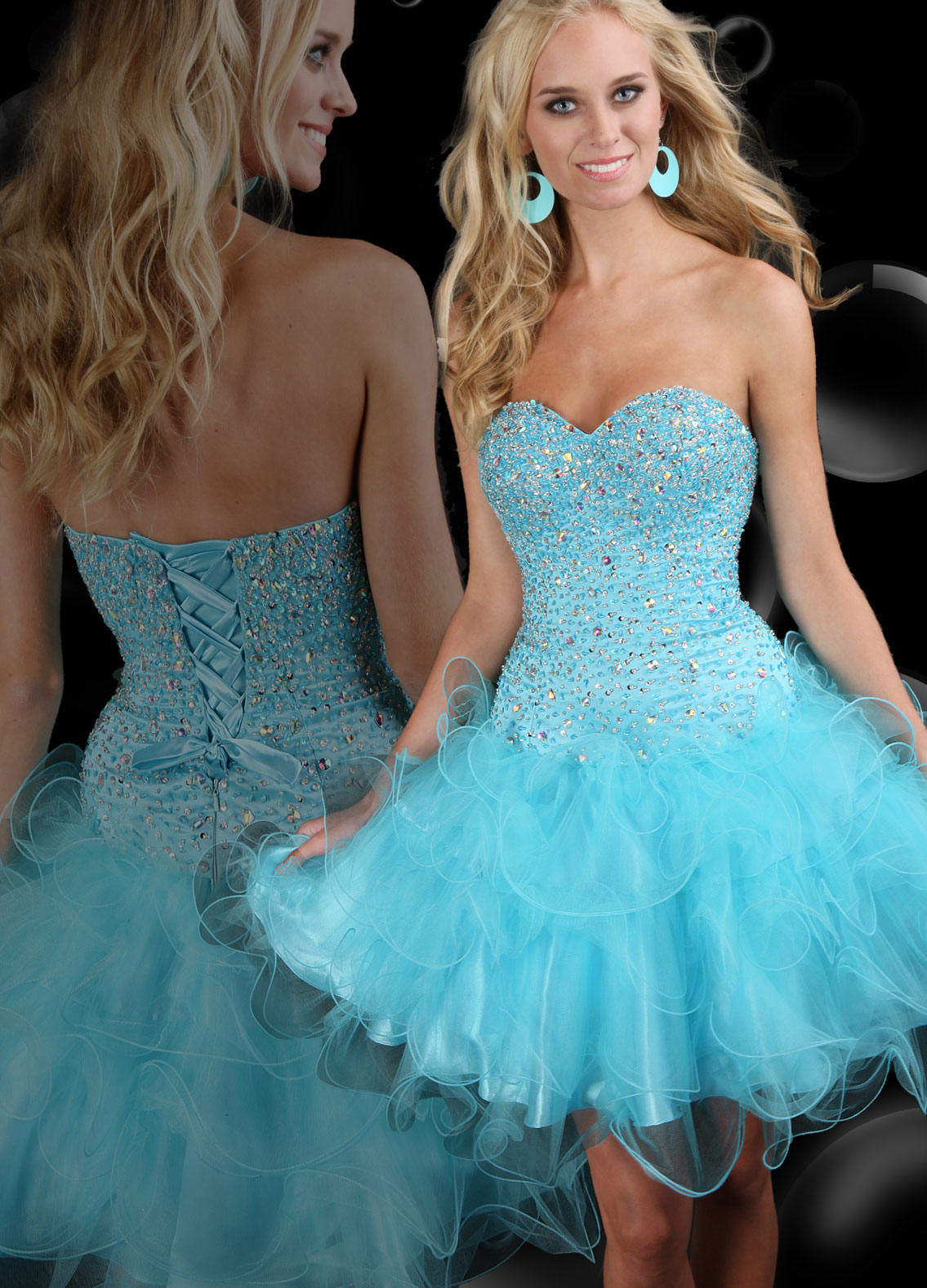 short blue quinceanera dresses