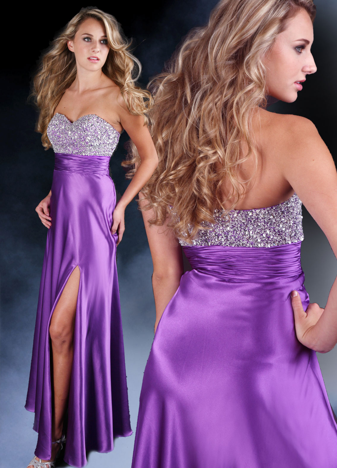 purple silk gown with high side slit