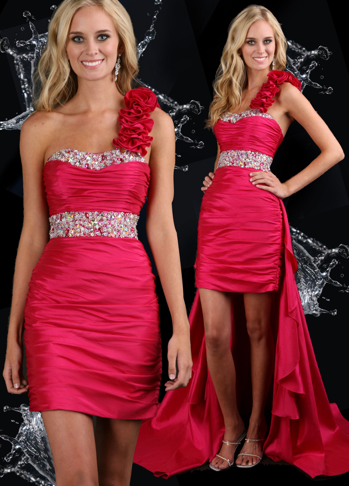 Ruched high low red prom gown
