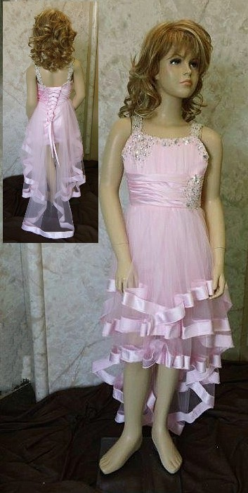 High low pageant dress with sheer skirt