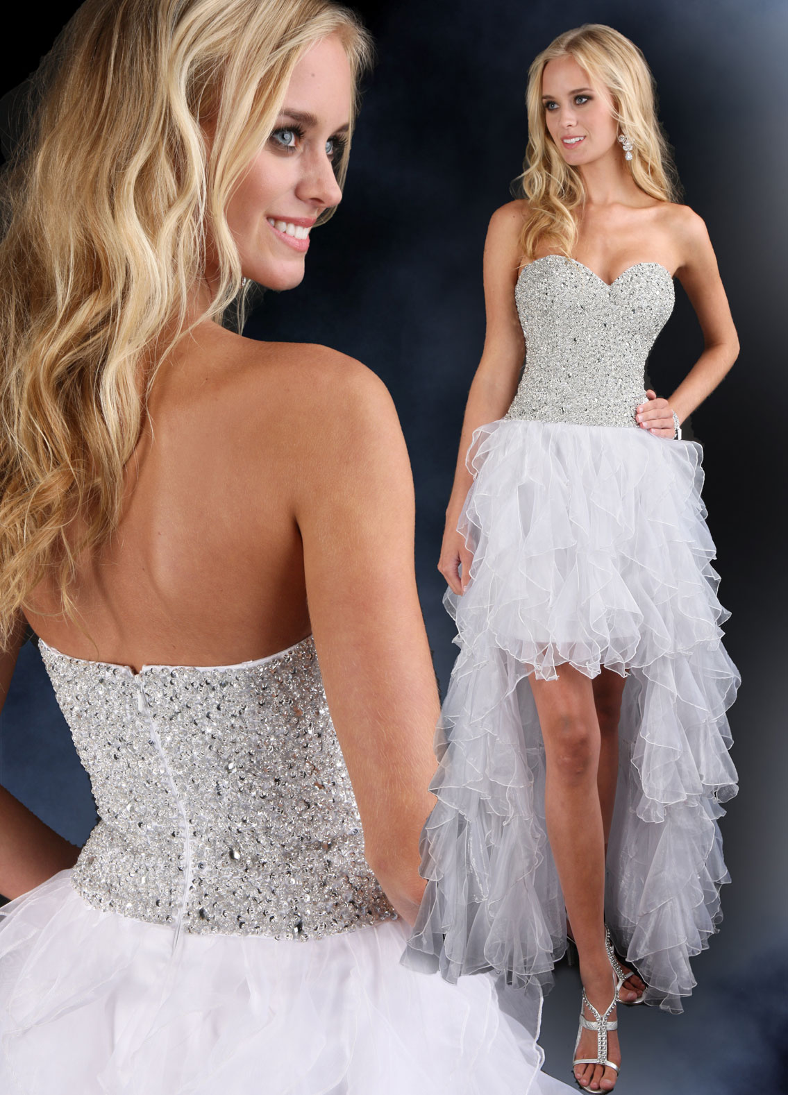 high low sweetheart strapless gown