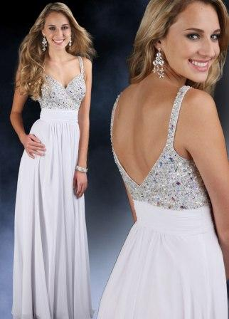 jewel strap chiffon prom dress