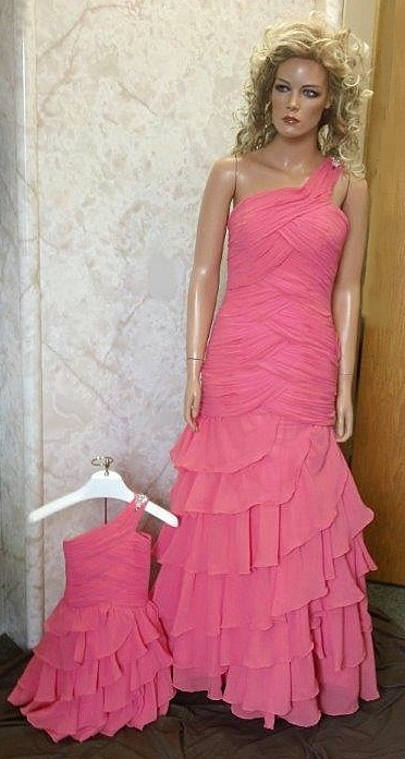 Ruched Chiffon Long Gown With Ruffle Skirt