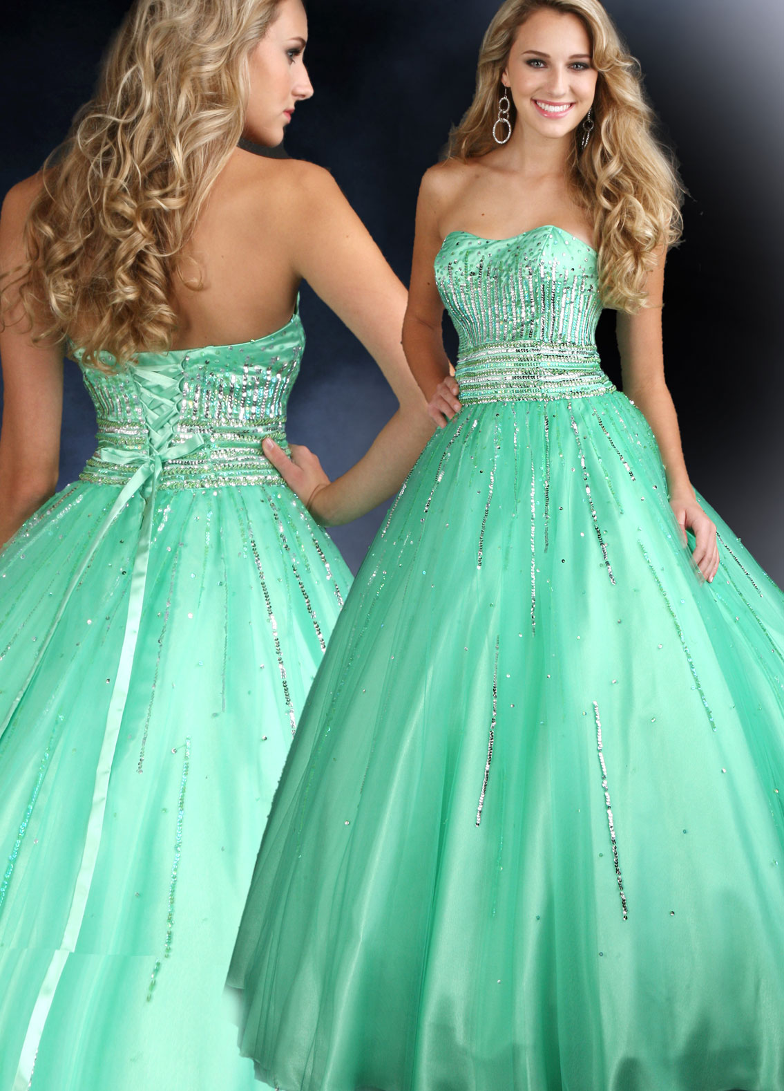Tulle lime green ball gown.