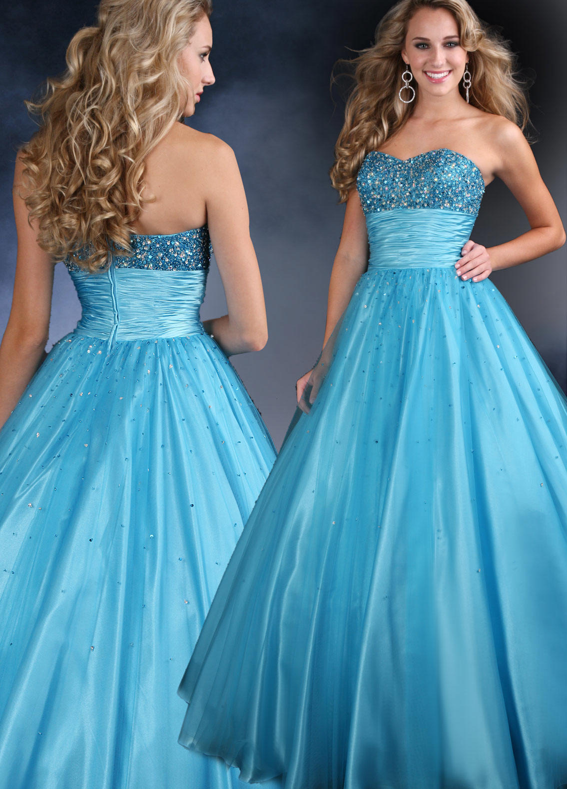 blue sequin ball gown