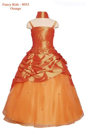 orange hi low flower girl dresses with fancy pickup skirt