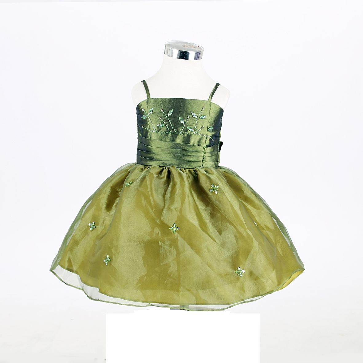 green infant dress with bolero jacket