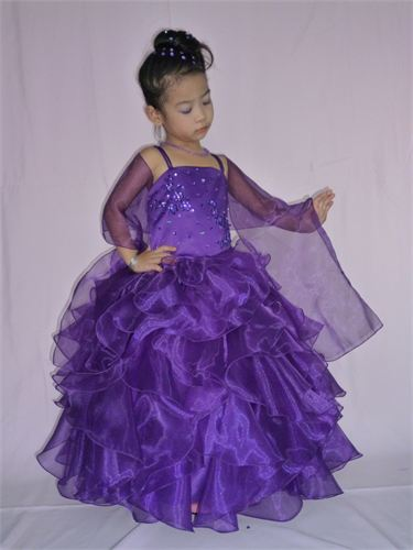 Girls Floor Length Ruffled Skirt Purple Pageant Dress
