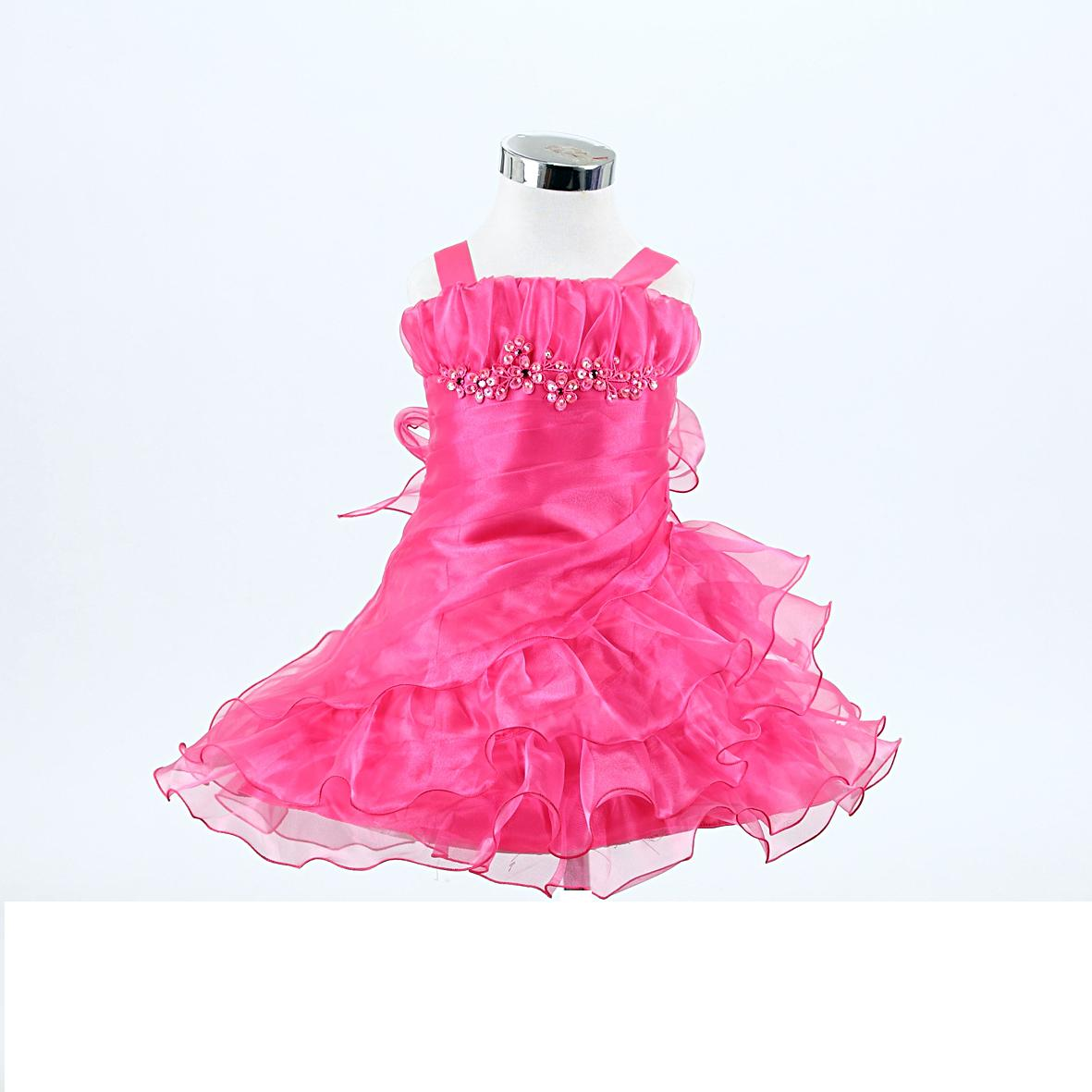fuschia frilly baby dress