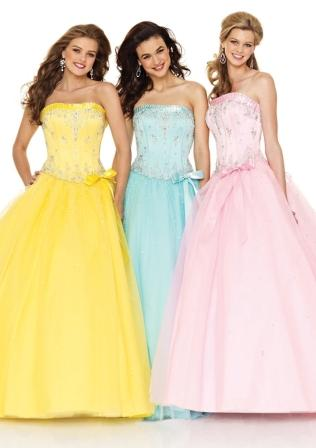 Women's pastel pageant prom dresses