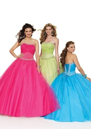 strapless cerise ball gown