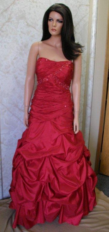 Red Strapless mermaid pickups Prom gown
