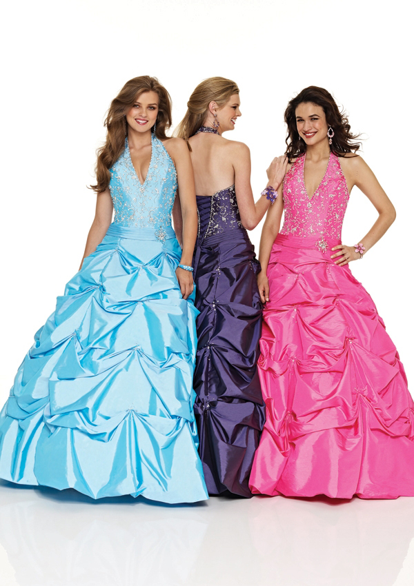 Ladies and teens Halter v neck ball gown