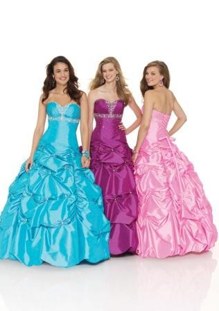 Ladies and teens fit and flare gown with pick ups