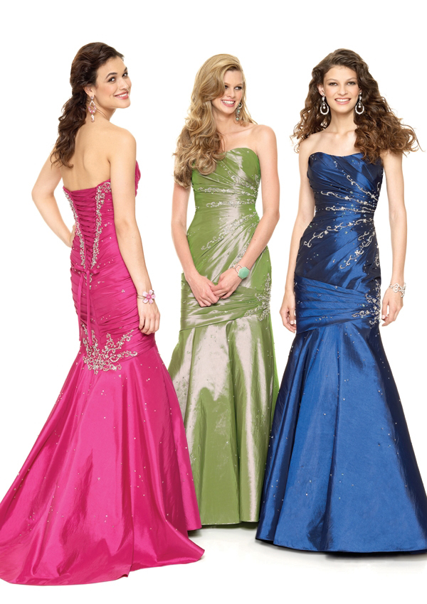 strapless beaded taffeta mermaid style gown