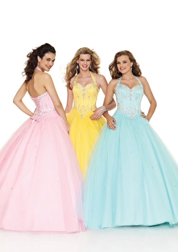 teens halter ball gown