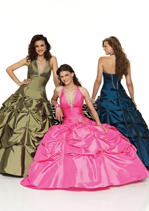 halter pickup ball gown