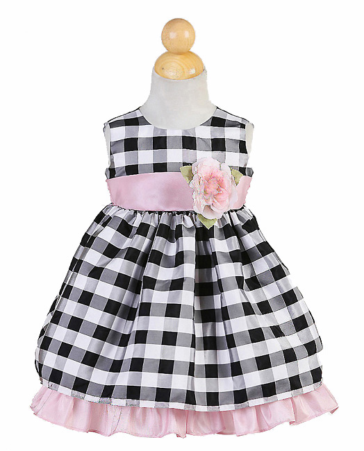 black and pink checked dress