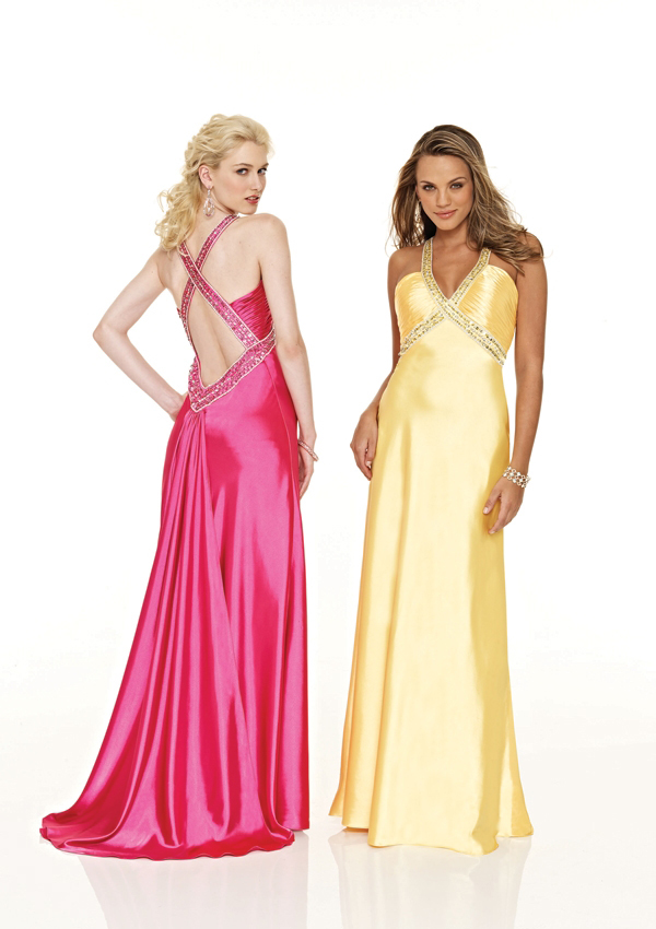 long prom dress low back v-neck
