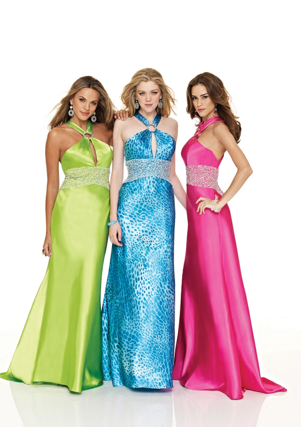 Bright Green, Pink and Blue Halter dress